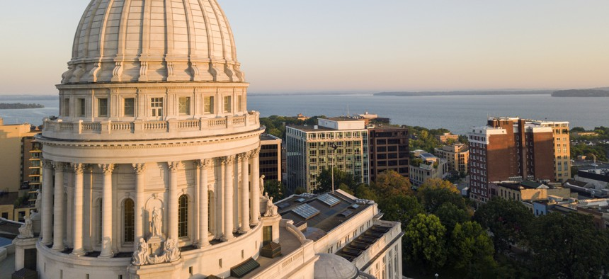 The Wisconsin state Capitol dome in Madison.