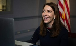 "Then-acting Department of Defense Deputy Chief Information Officer for Information Enterprise Danielle Metz discusses ""Delivering Better Software Faster to the Warfighter,"" the Pentagon, Washington, D.C., Jan. 27, 2021."
