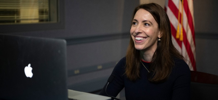 """Then-acting Department of Defense Deputy Chief Information Officer for Information Enterprise Danielle Metz discusses """"Delivering Better Software Faster to the Warfighter,"""" the Pentagon, Washington, D.C., Jan. 27, 2021."""