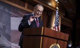 In this March 6, 2021, file photo Senate Majority Leader Chuck Schumer, D-N.Y., speaks during a news conference at the Capitol in Washington
