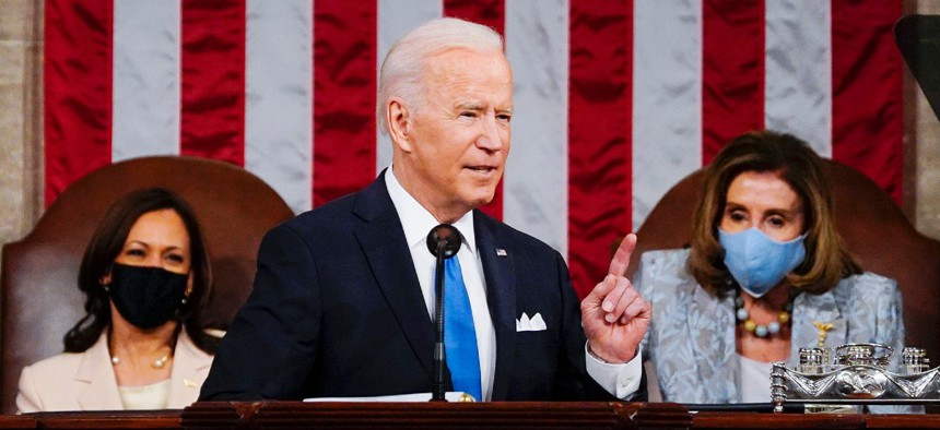 President Joe Biden addresses a joint session of Congress April 28.