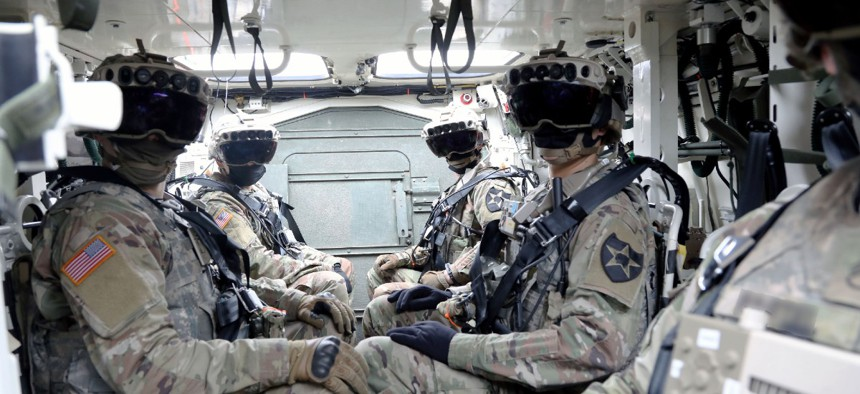 Soldiers wearing the Integrated Visual Augmentation System Capability Set 3 hardware at Joint Base Lewis-McCord.