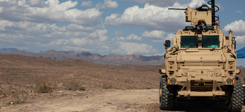 The Next-Generation Combat Vehicle Mine-Resistant Ambush Protected surrogate conducts a live-fire exercise during the Project Convergence capstone event at Yuma Proving Ground, Arizona, Aug. 11 – Sept. 18, 2020.