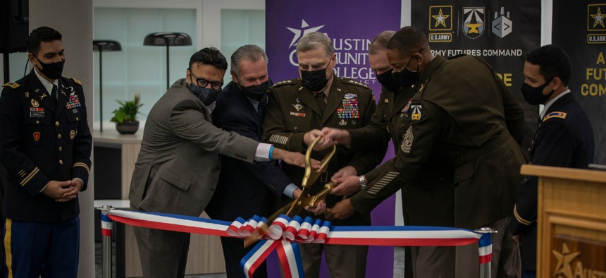 Army Futures Command conducts am April 15 ribbon-cutting ceremony with Army Gen. Mark Milley to mark a new phase for the Army Software Factory, which now has an official presence within the Austin Community College District's Rio Grande Campus in Texas.