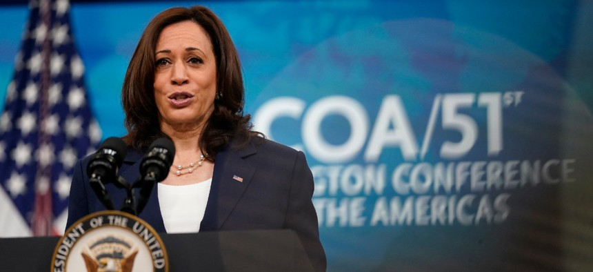 Vice President Kamala Harris delivers remarks to the Washington Conference on the Americas from the South Court Auditorium on the White House campus May 4.