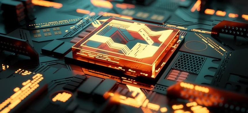 Futuristc CPU processor and machine learning concept.