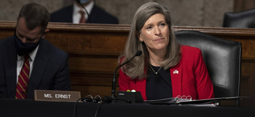 Sen. Joni Ernst, R-Iowa, speaks during a hearing to examine United States Special Operations Command and United States Cyber Command in review of the Defense Authorization Request for fiscal year 2022 and the Future Years Defense Program, on Capitol Hill, Thursday, March 25, 2021, in Washington