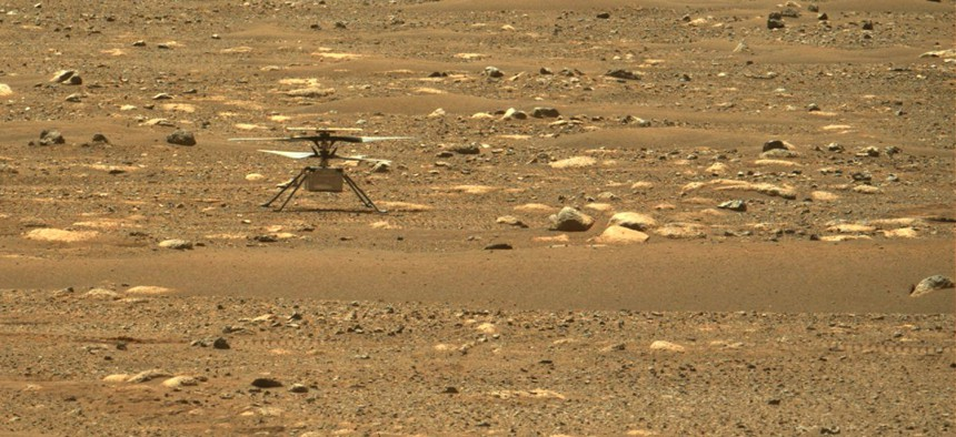 This image from NASA's Perseverance rover shows the agency's Ingenuity Mars Helicopter right after it successfully completed a high-speed spin-up test.