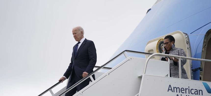 President Joe Biden walks with Housing and Urban Development Secretary Marcia Fudge as he arrives on Air Force One in Tulsa, Okla., Tuesday, June 1, 2021.