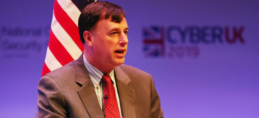 ob Joyce (US Homeland Security Advisor) during a Five Eyes session: International Panel Discussion on Global Cyber Issues during CYBERUK held at the Scottish Event Campus in Glasgow