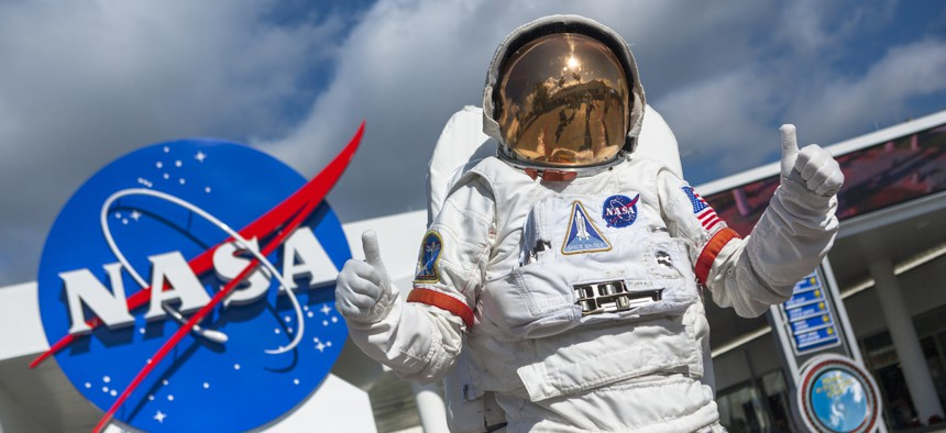 An astronaut suit at the NASA Kennedy Space Center in Cape Canaveral Florida USA. It is part of a region known as the Space Coast, and is the site of the Cape Canaveral Air Force Station. Many US spacecraft have been launched from both the station and the Kennedy Space Center on adjacent Merritt Island