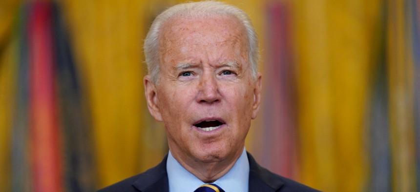 President Joe Biden speaks in the East Room of the White House July 8.
