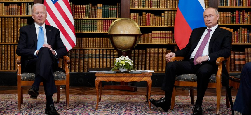 In this June 16, 2021, photo President Joe Biden meets with Russian President Vladimir Putin in Geneva, Switzerland.