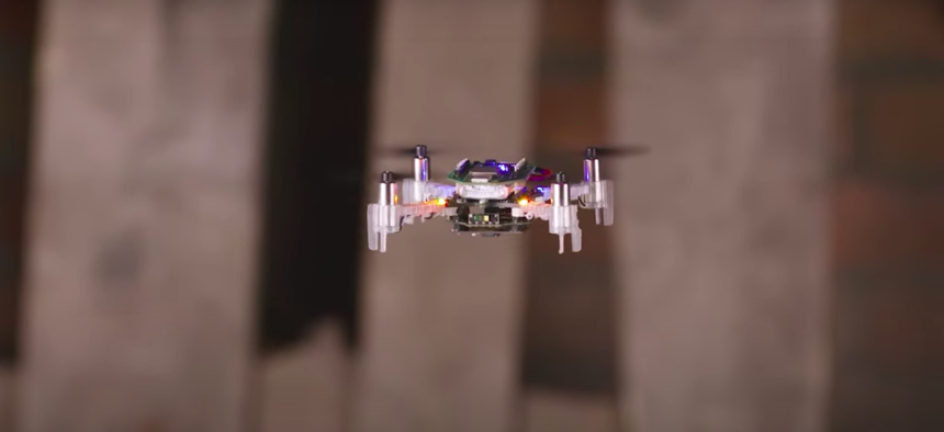 """The research team used modified """"CrazyFlie"""" drones, which are 12 cm in diameter weighed only 37.5 grams."""