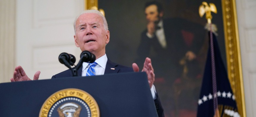 President Joe Biden speaks about the economy and his infrastructure agenda in the State Dining Room of the White House July 19.