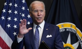 President Joe Biden finishes leaves after speaking during a visits to the Office of the Director of National Intelligence in McLean, Va., Tuesday, July 27, 2021.