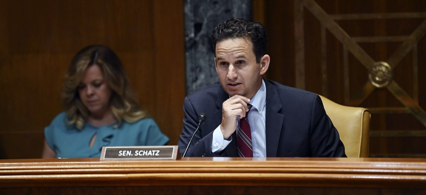 Sen. Brian Schatz, D-Hawaii, speaks during a Senate Appropriations Subcommittee on Transportation, Housing and Urban Development, and Related Agencies to examine proposed budget estimates and justification for fiscal year 2022 for the Department of Housing and Urban Development on Thursday, June 10, 2021, on Capitol Hill in Washington.