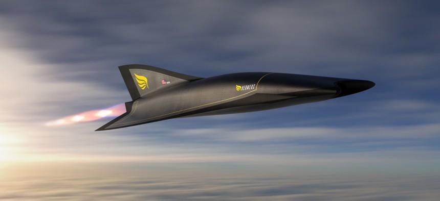 A concept image of the Hermeus Quarterhorse hypersonic aircraft.