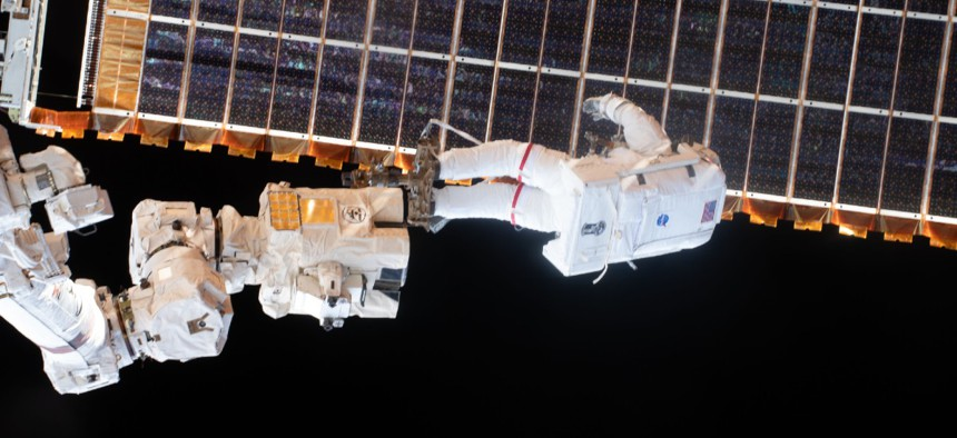 Spacewalker Thomas Pesquet of the European Space Agency outside of the International Space Station.