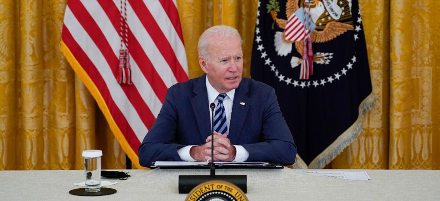 President Joe Biden speaks during a meeting about cybersecurity, in the East Room of the White House Aug. 25