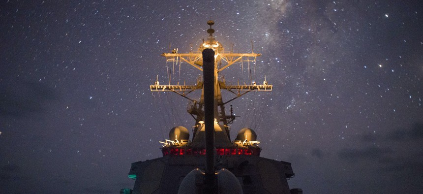 The guided-missile destroyer USS Gonzalez (DDG 66) transits the Gulf of Aden in 2016.