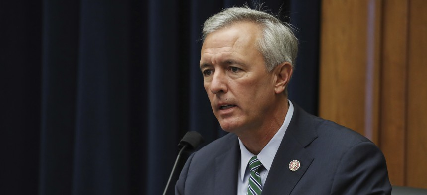 FILE - In this Sept. 20, 2020, file photo, Rep. John Katko, R-N.Y., questions witnesses during a House Committee on Homeland Security hearing on Capitol Hill Washington.