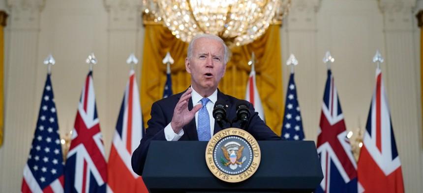 President Joe Biden, joined virtually by Australian Prime Minister Scott Morrison and British Prime Minister Boris Johnson, speaks about a national security initiative Sept. 15.