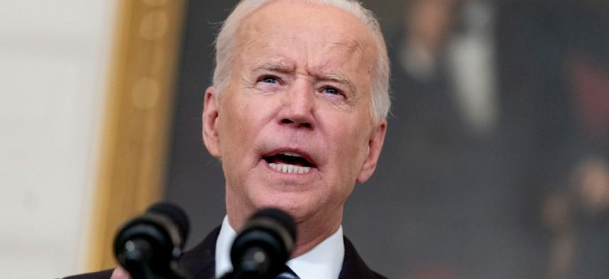 President Biden speaks in the State Dining Room at the White House on Sept. 9.
