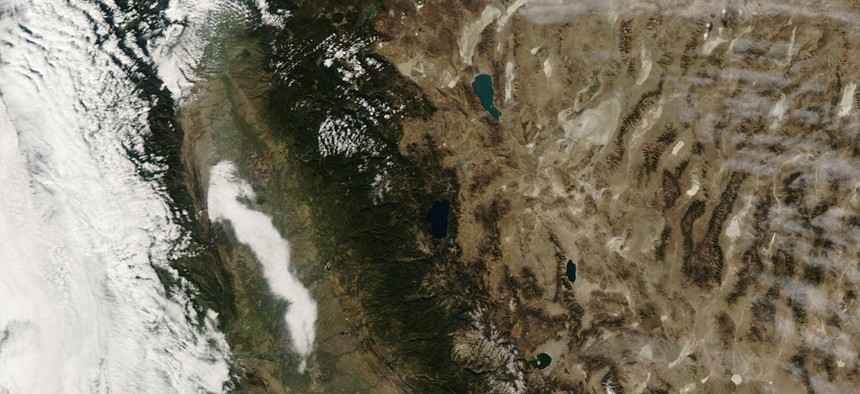 Visible evidence of poor air quality appeared in satellite imagery of California on November 18, 2007.