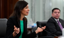 Jessica Rosenworcel testifies before a Senate Commerce, Science, and Transportation committee hearing to examine the Federal Communications Commission June 24.