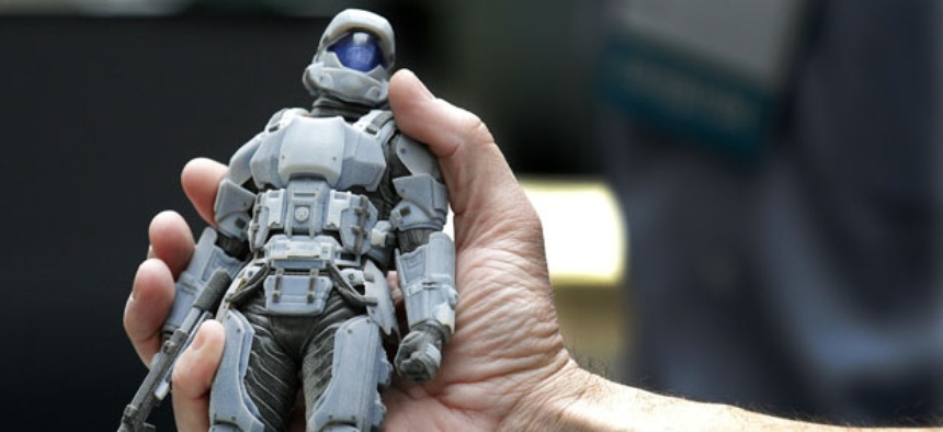 Photopolymer printing can print three-dimensional figures, as displayed at a conference in Ohio.