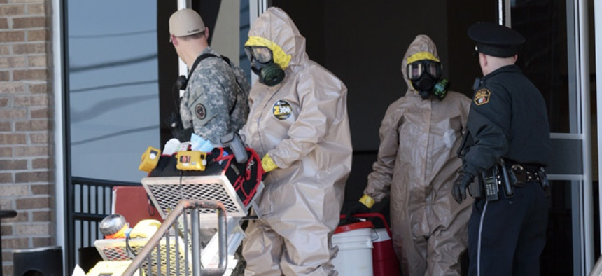 A hazardous materials team is needed when powdered substances are thought to be anthrax often.