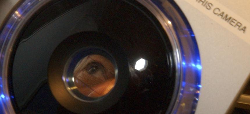 A passenger undergoes iris scanning at Boston's Logan Airport during a test program.