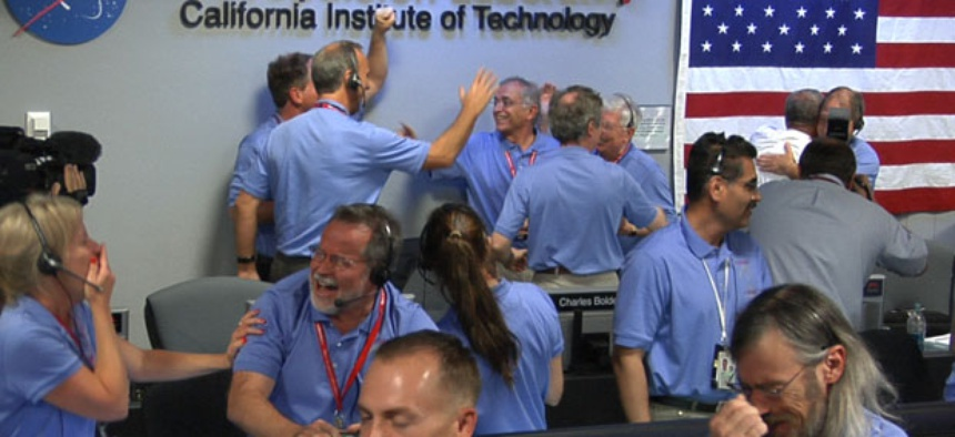 NASA staff at the Jet Propulsion Laboratory celebrate the landing of Curiosity.