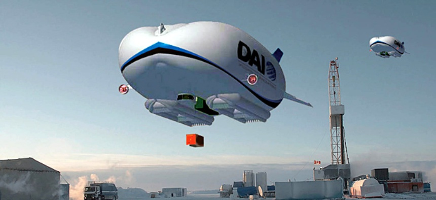 An artist's concept art for a hybrid airship.