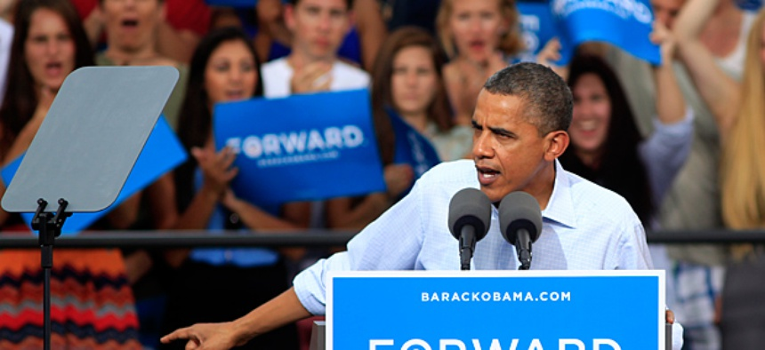 President Barack Obama speaks during campaign stop.