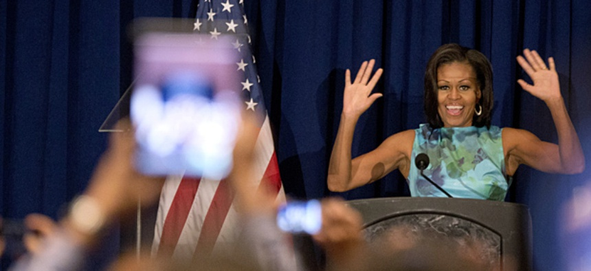 First lady Michelle Obama speaks at the Hispanic caucus at the Democratic National Convention in Charlotte, NC.