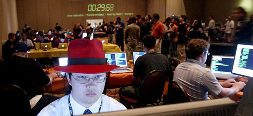 Jason Spence competes in a hacking competition at the DEFCON 14 Conference in Las Vegas.