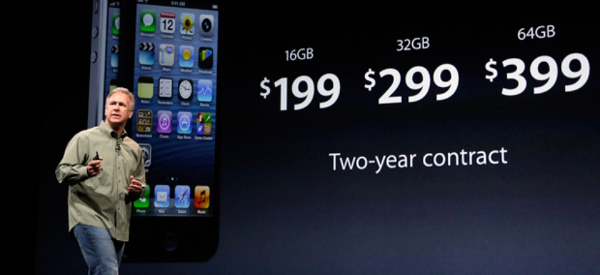 Phil Schiller, Apple's senior vice president of worldwide marketing, speaks on stage during an introduction of the new iPhone 5.