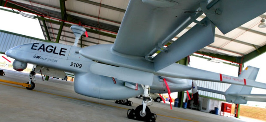 An Israeli IAI-Malat-EADS Eagle at the Asian Aerospace trade fair.