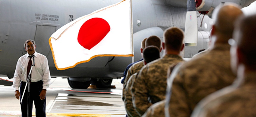 Secretary of Defense Leon Panetta during his trip to Japan speaks to military personnel stationed at Yokota.