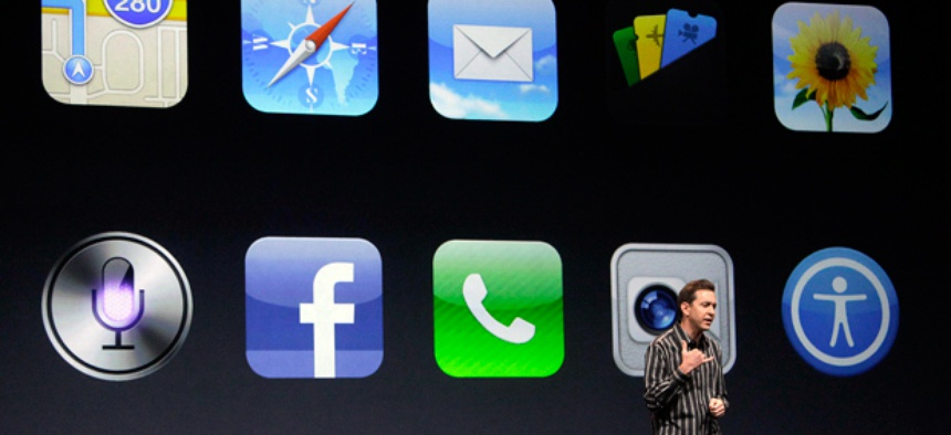 Scott Forstall, Apple's senior vice president of iOS Software, speaks during an Apple event in San Francisco