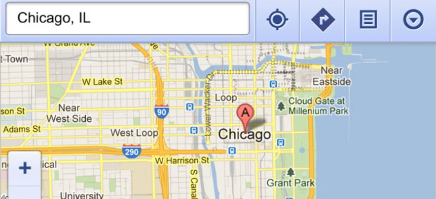 Google Maps, as rendered in Apple's Safari mobile browser.