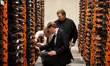 Bowen Goletz, Paul Rich and Ryan Milner working on Mira's stacks.