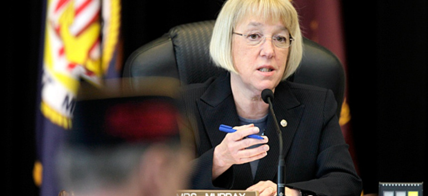 Sen. Patty Murray, D-Wash., speaks at a field hearing of the Senate Veterans' Affairs Committee in April.