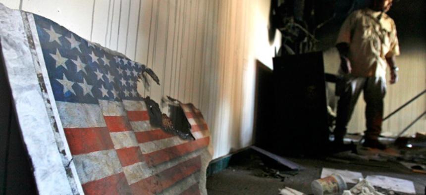 Inside the vandalized U.S. Embassy in Tripoli.