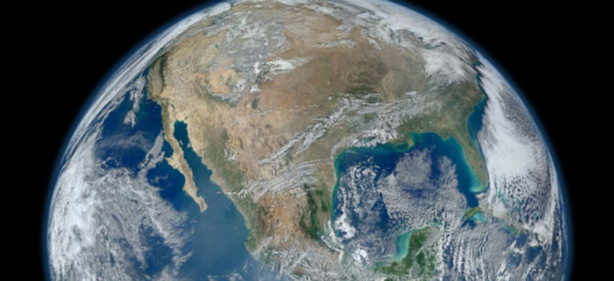 Earth, as seen from a satellite image.