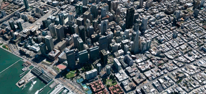A three-dimensional view of San Francisco on Google's digital mapping service.