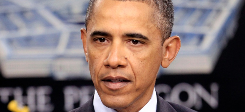 President Barack Obama speaks during a news briefing at the Pentagon.