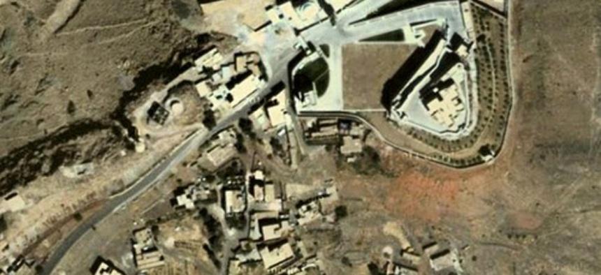 An aerial image of a Nov. 7 drone strike at Beyt al-Ahmar, Yemen